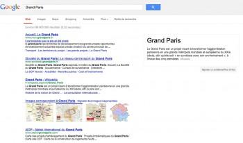 Page de résultats google avec la recherche Grand Paris