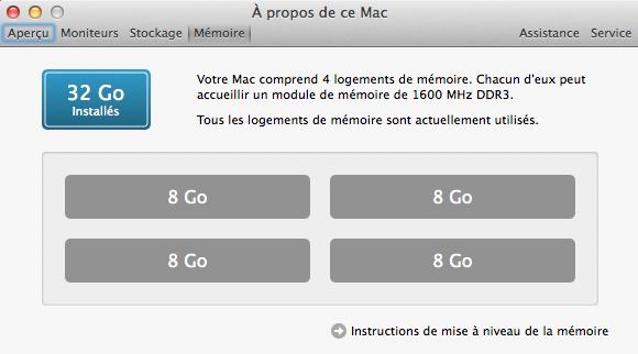 32 Go installés dans l'iMac